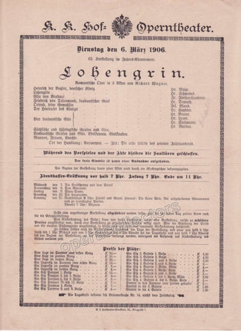 Imperial & Royal Court Opera Playbill - Lohengrin - March 6th, 1906 - TaminoAutographs.com