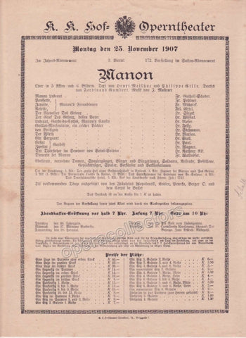 Imperial & Royal Court Opera Playbill - Manon - Nov. 25th, 1907 - Tamino Autographs