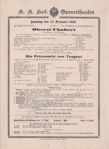 Imperial & Royal Court Opera Playbill - Oberst Chabert - Die Prinzessin von Tragant - Dec. 14th, 1912