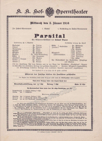 Imperial & Royal Court Opera Playbill - Parsifal - Jan. 5th, 1916 - Tamino Autographs
