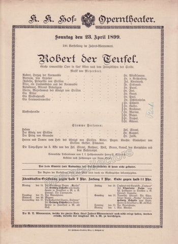 Imperial & Royal Court Opera Playbill - Robert Le Diable - Apr. 23rd, 1899 - Tamino Autographs