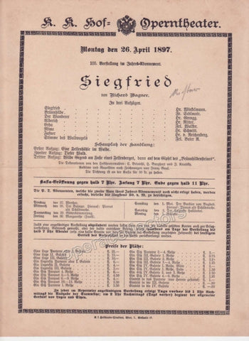 Imperial & Royal Court Opera Playbill - Siegfried - Apr. 26th, 1897 - Tamino Autographs
