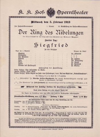 Imperial & Royal Court Opera Playbill - Siegfried - Feb. 5th, 1913