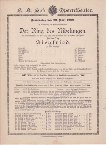 Imperial & Royal Court Opera Playbill - Siegfried - March 20th, 1902 - TaminoAutographs.com