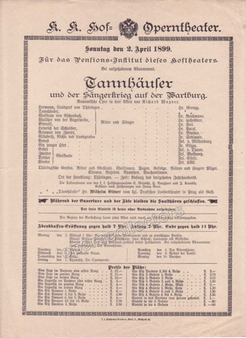 Imperial & Royal Court Opera Playbill - Tannhauser - Apr. 2nd, 1899