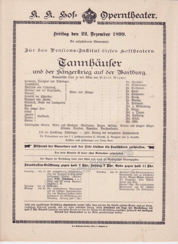 Imperial & Royal Court Opera Playbill - Tannhauser - Dec. 22nd, 1899 - TaminoAutographs.com