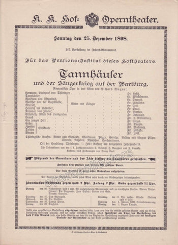 Imperial & Royal Court Opera Playbill - Tannhauser - Dec. 25th, 1898 - Tamino Autographs