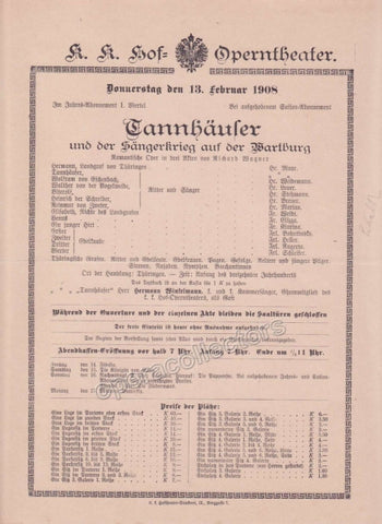 Imperial & Royal Court Opera Playbill - Tannhauser - Feb. 13th, 1908 - Tamino Autographs