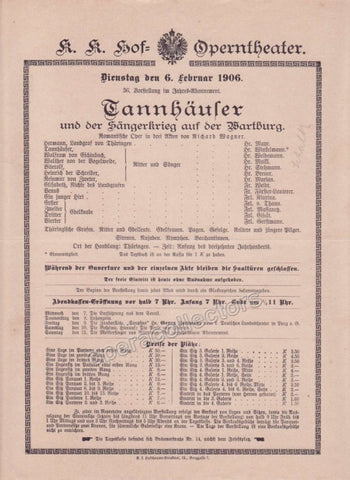 Imperial & Royal Court Opera Playbill - Tannhauser - Feb. 6th, 1906 - Tamino Autographs
