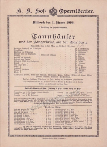 Imperial & Royal Court Opera Playbill - Tannhauser - Jan. 1st, 1896