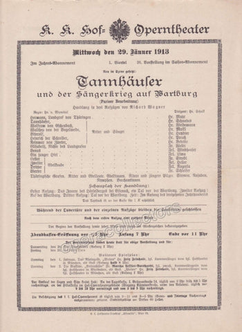 Imperial & Royal Court Opera Playbill - Tannhauser - Jan. 29th, 1913 - Tamino Autographs