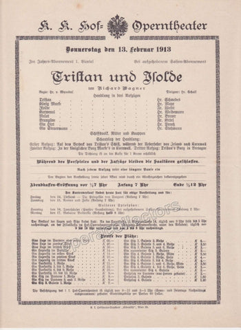 Imperial & Royal Court Opera Playbill - Tristan und Isolde - Feb. 13th, 1913