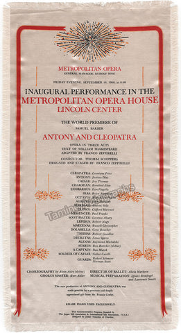 Inaugural Performance in the Met Opera House - World Premiere Antony and Cleopatra - Silk Program 1966!