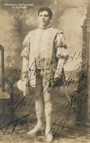 Jadlowker, Hermann - Signed Photo as the Duke in Rigoletto 1917