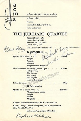 JULLIARD QUARTET - TaminoAutographs.com