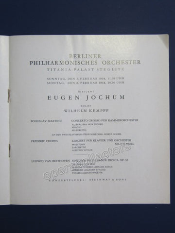 Kempff, Wilhelm and Jochum, Eugen - Program 1954 - Tamino Autographs