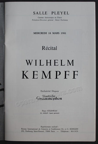 Kempff, Wilhelm - Paris Concert Program 1981 - Tamino Autographs  - 1