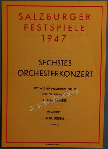 Klemperer, Otto - Salzburg Festival Program 1947 - TaminoAutographs.com