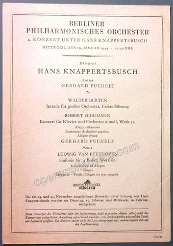 Knappertsbusch, Hans - Berlin Philharmonic Program 1944 - Tamino Autographs