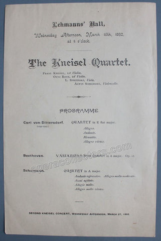 Kneisel Quartet - Concert Program 1892