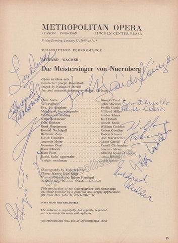 Konya, Sandor - Tozzi, Giorgio (and others) - Signed Cast Page Metropolitan Opera, New York 1969