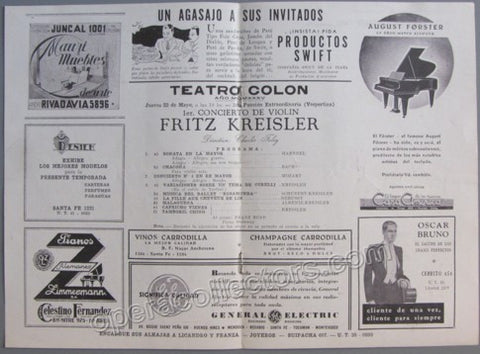Kreisler, Fritz - Program T. Colon 1935 - TaminoAutographs.com