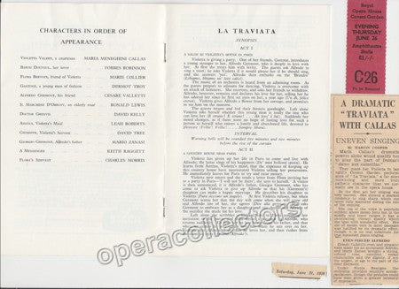 La Traviata at Royal Opera House Program & Ticket 1958 - Tamino Autographs