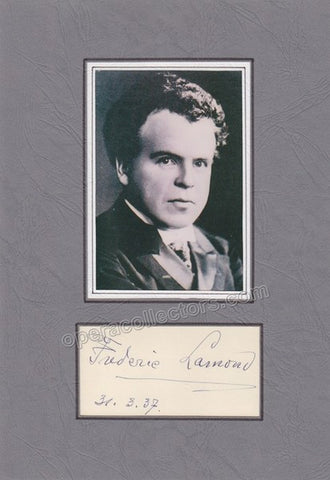 Lamond, Frederic - Matted Signature and Photo - Tamino Autographs