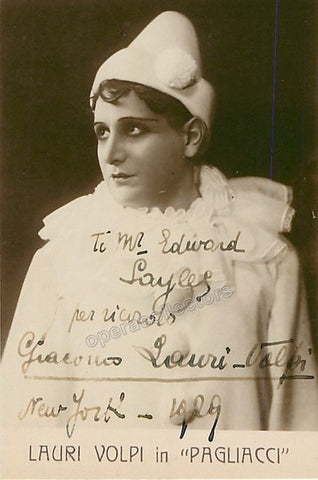 Lauri-Volpi, Giacomo - Signed photo as Canio in Pagliacci