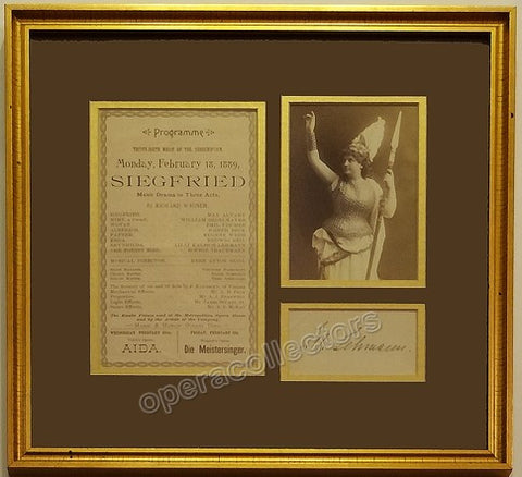 Lehmann, Lilli - Signature + Photo + Program Clip (Unframed) - TaminoAutographs.com