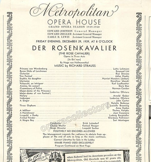 Lehmann, Lotte - Signed photo in Der Rosenkavalier - Tamino Autographs  - 2