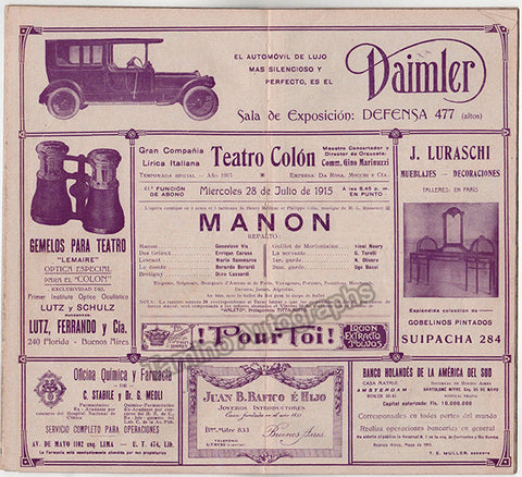 Manon at Teatro Colon 1915 - TaminoAutographs.com