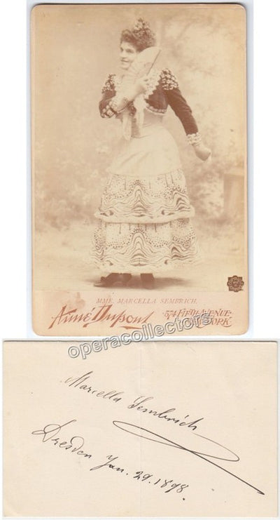 Sembrich, Marcella - Signed Card + Cabinet Photo as Rosina