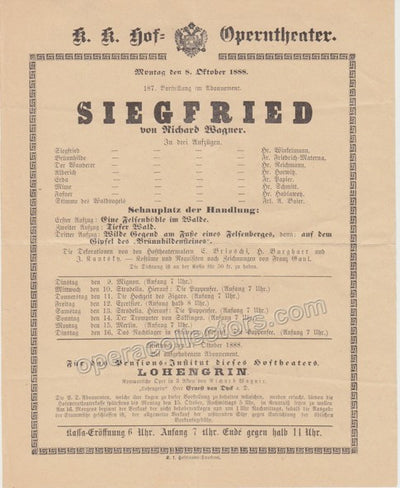 Siegfried - First Viennese Production Playbill 1888
