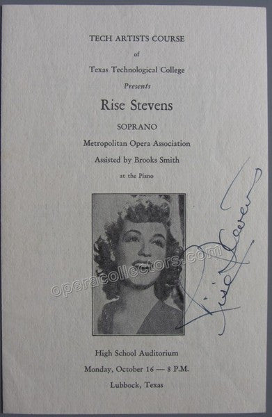 Stevens, Rise - Signed Program Texas 1950s