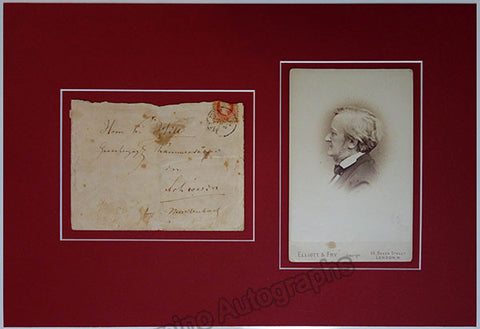 Wagner, Richard - Handwritten Envelope and Vintage Cabinet Photo - Tamino Autographs  - 1