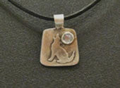 Silverwaves-Howling Dog with Moonstone Pendant