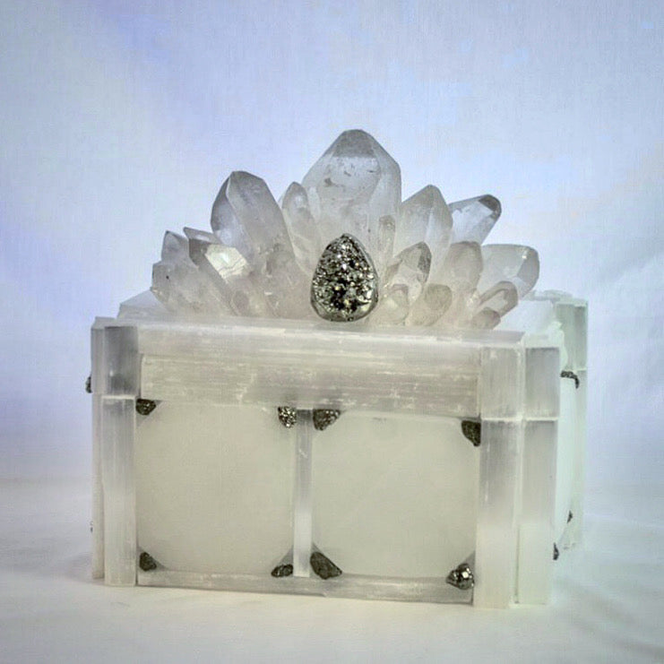 Crystal Box with Quartz Point, Pyrite, and Selenite Tiles