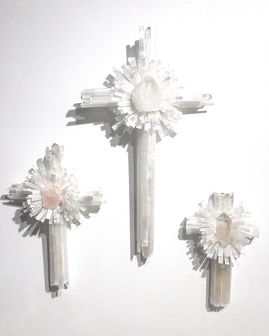 Selenite and Quartz Crystal Wall Cross