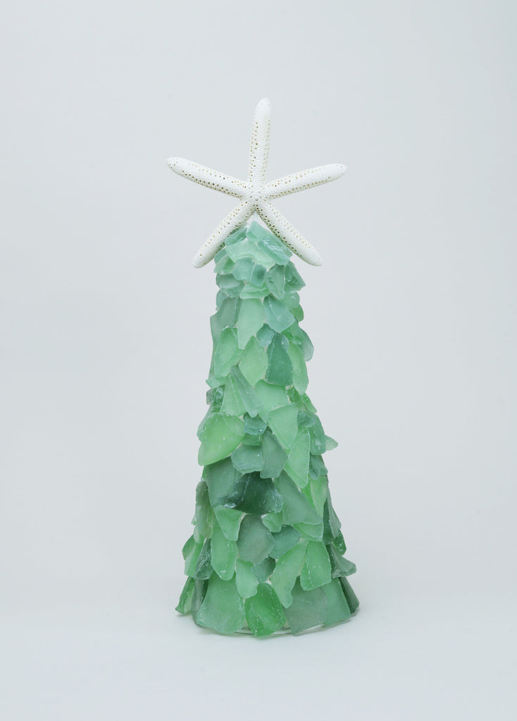 Green Sea Glass Tree with Seastar