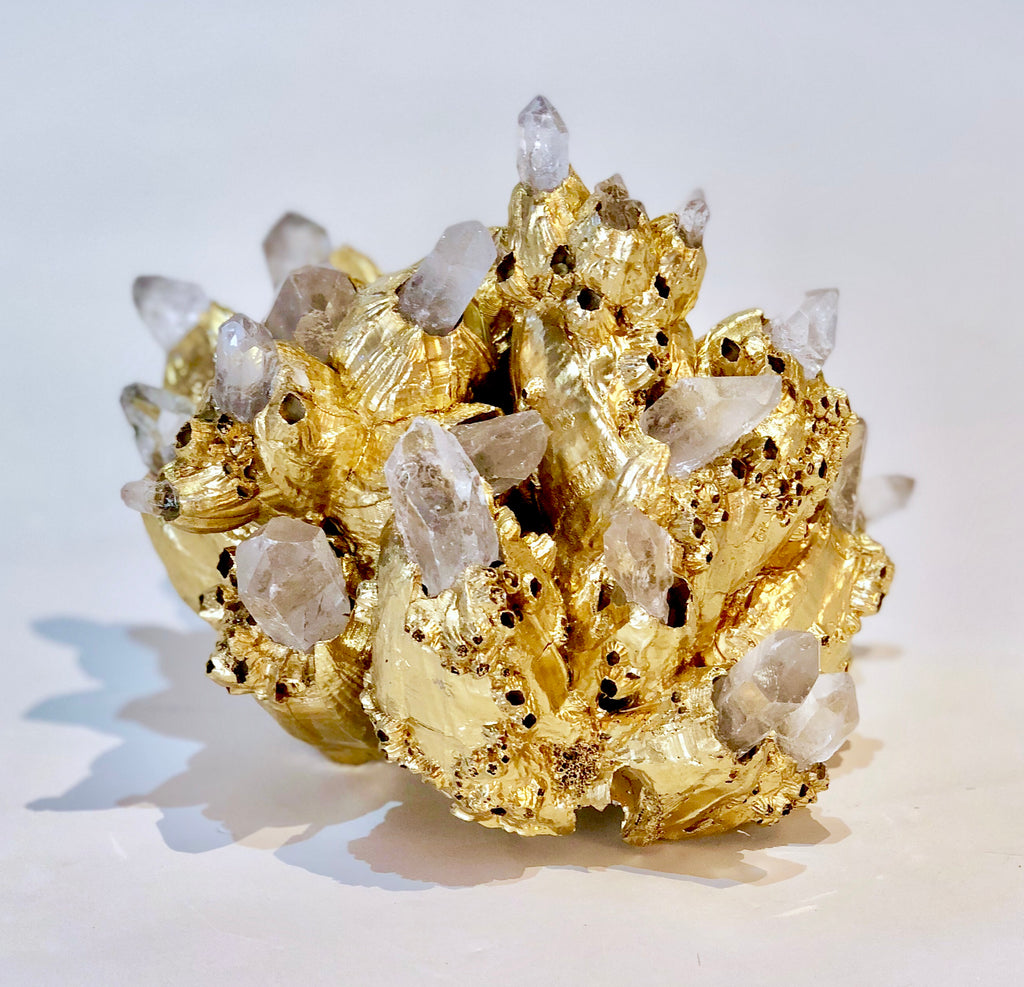 Barnacle Sculpture with Quartz Crystals W
