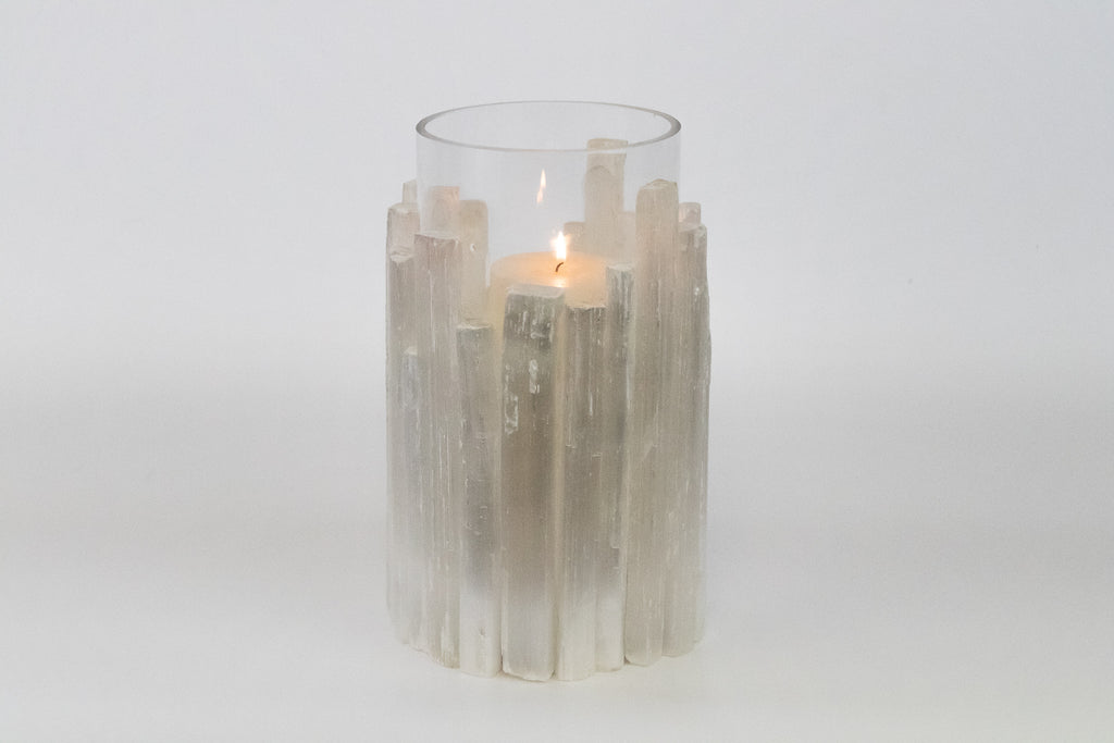 Selenite Hurricane Votive