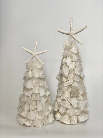White Quartz tree with Starfish topper SAMPLE SALE ITEM