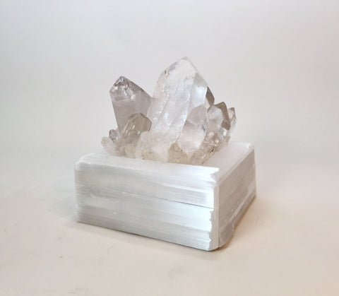Selenite Treasure Box with Quartz Point Crystal Top