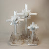 Selenite and Quartz Crystal Standing Cross D