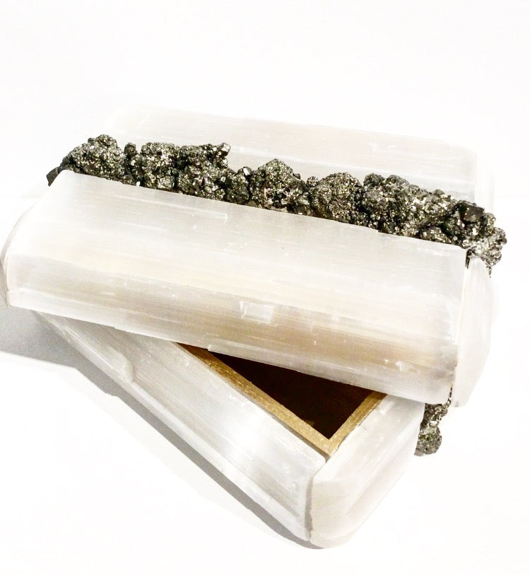 STRYPE Selenite and Pyrite Treasure Box D