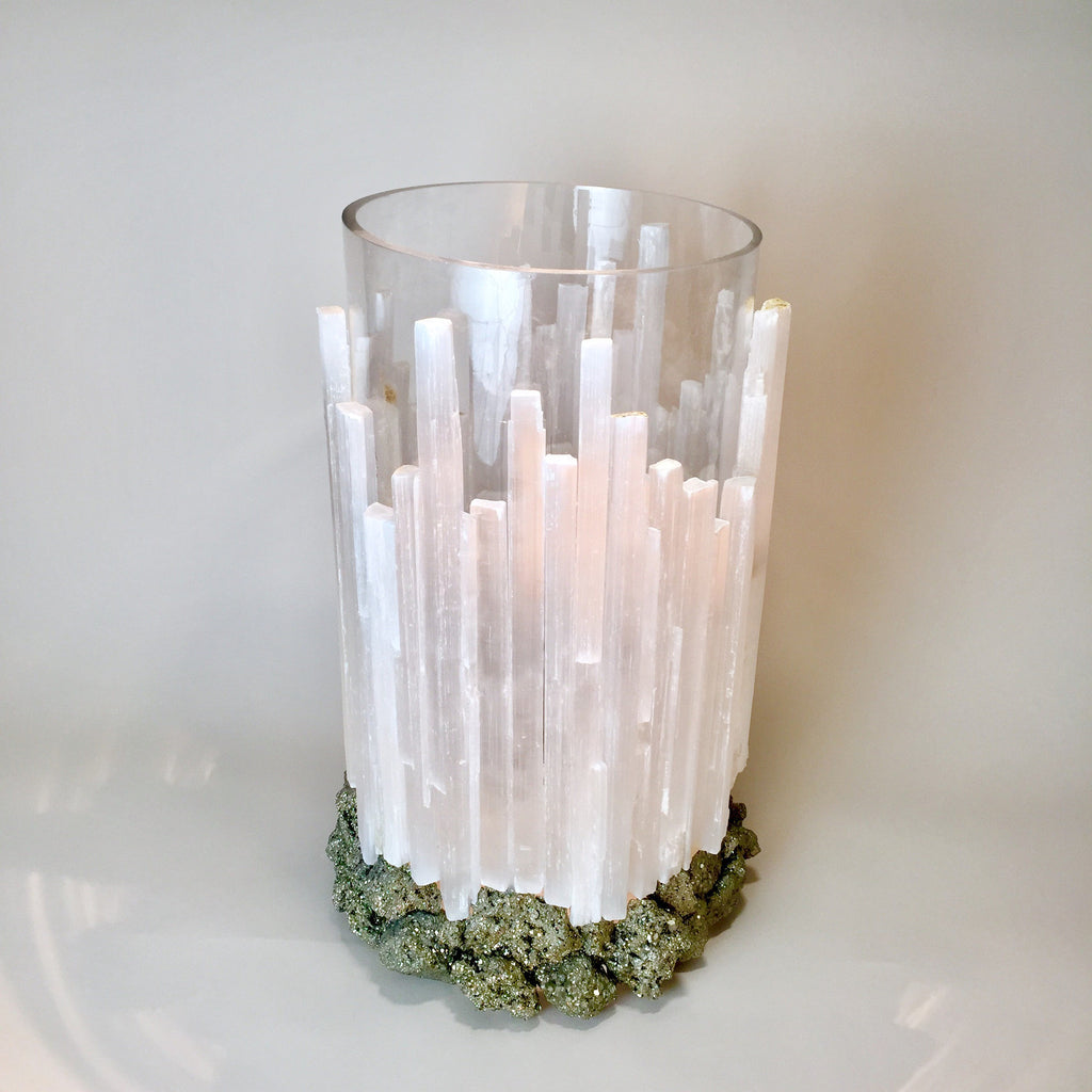 Selenite Hurricane Votive with Pyrite Base