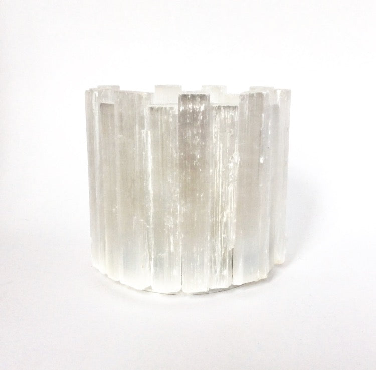 Selenite Votive Candle Holder W
