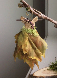 Fairy Dress with Moss and Crystals by Olive~ Branch Dress Stand Included