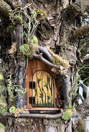 Fairy Door with Hand Carved Floral Detail by Olive